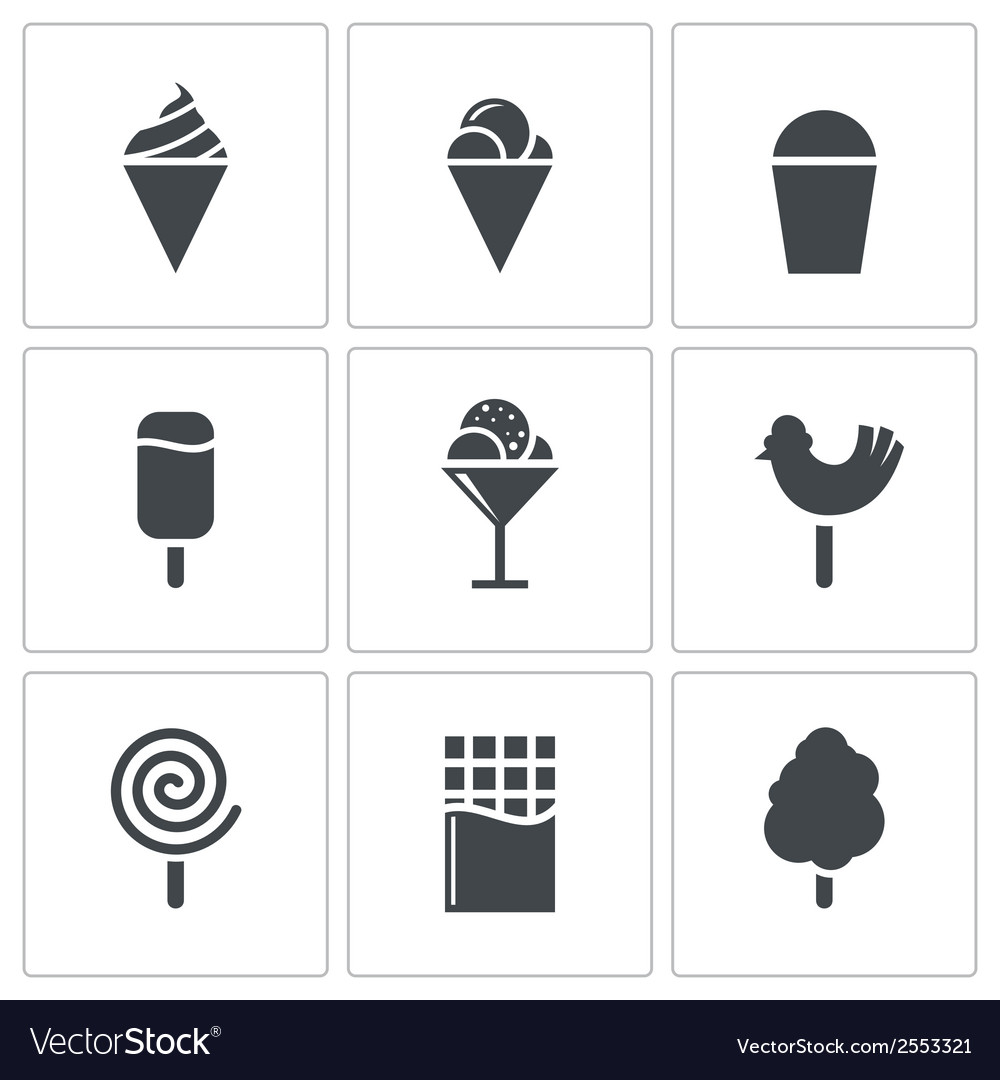 Sweets and ice cream icon set vector | Price: 1 Credit (USD $1)