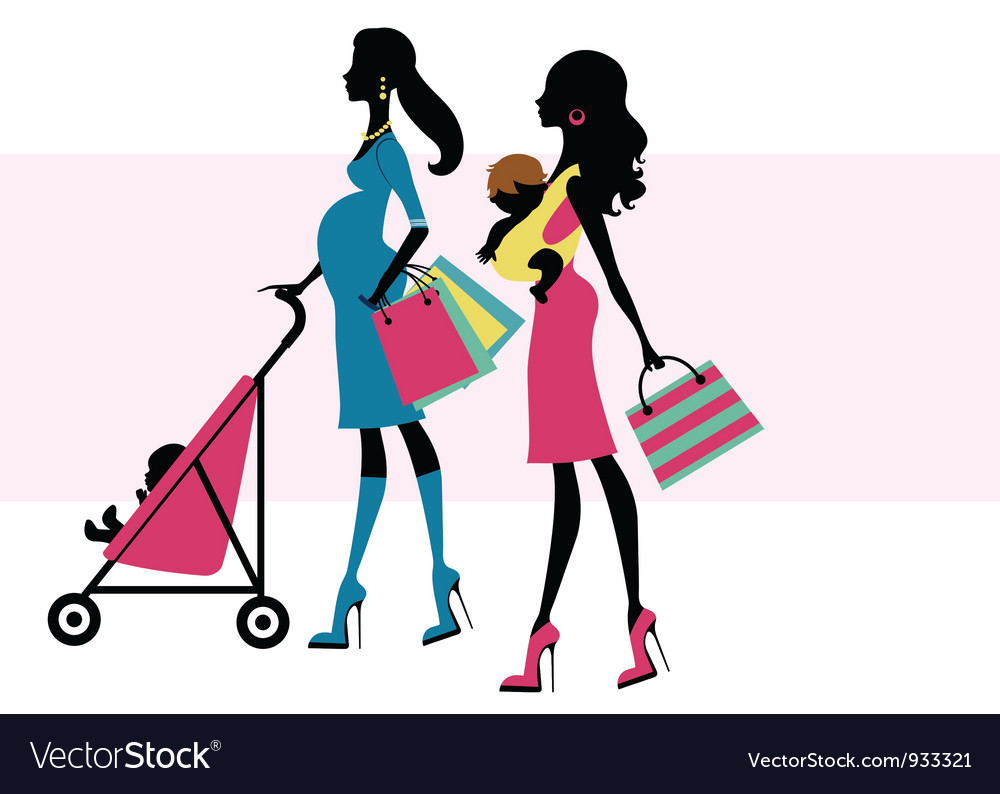 Two chick moms shopping vector | Price: 1 Credit (USD $1)