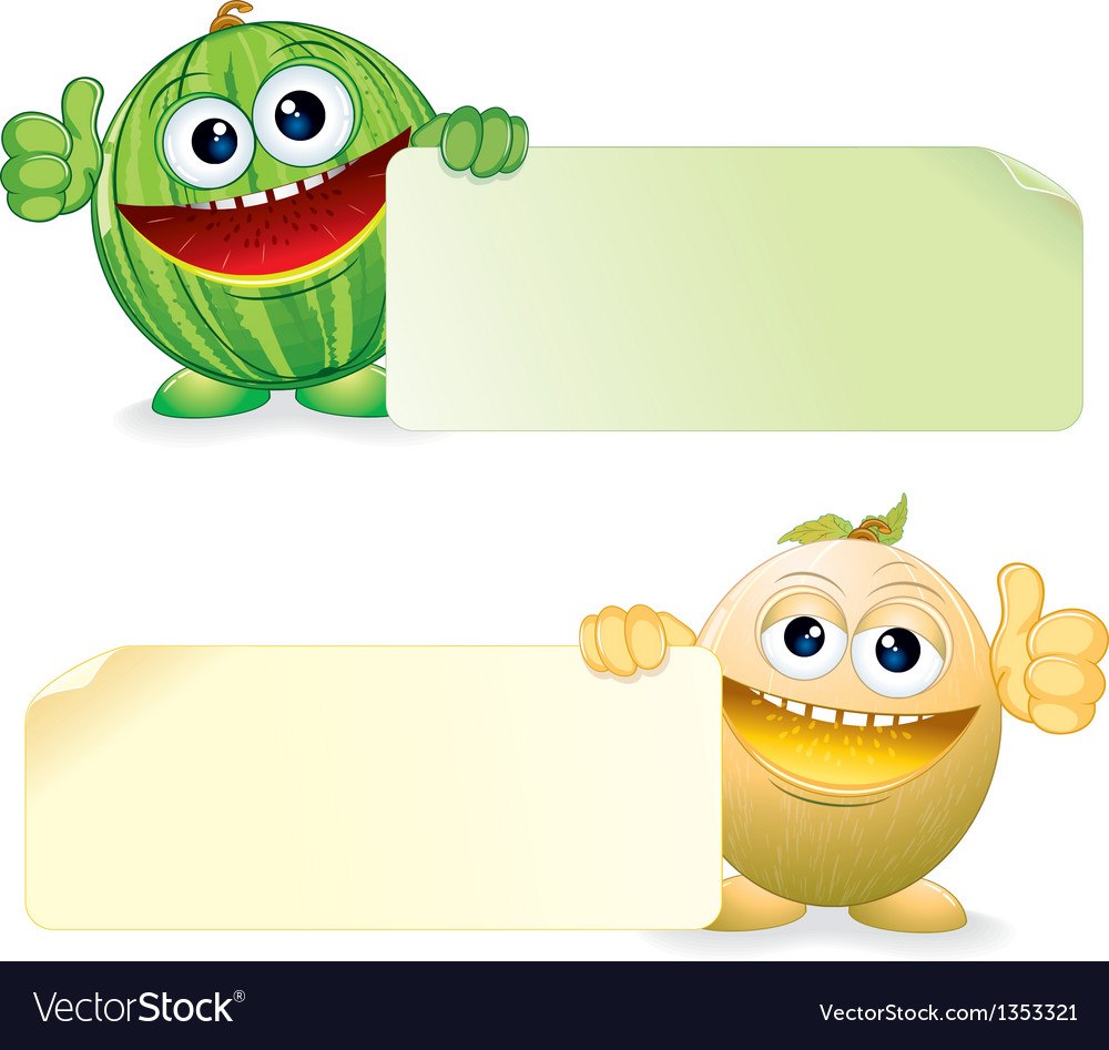 Watermelon and melon cartoon vector | Price: 1 Credit (USD $1)