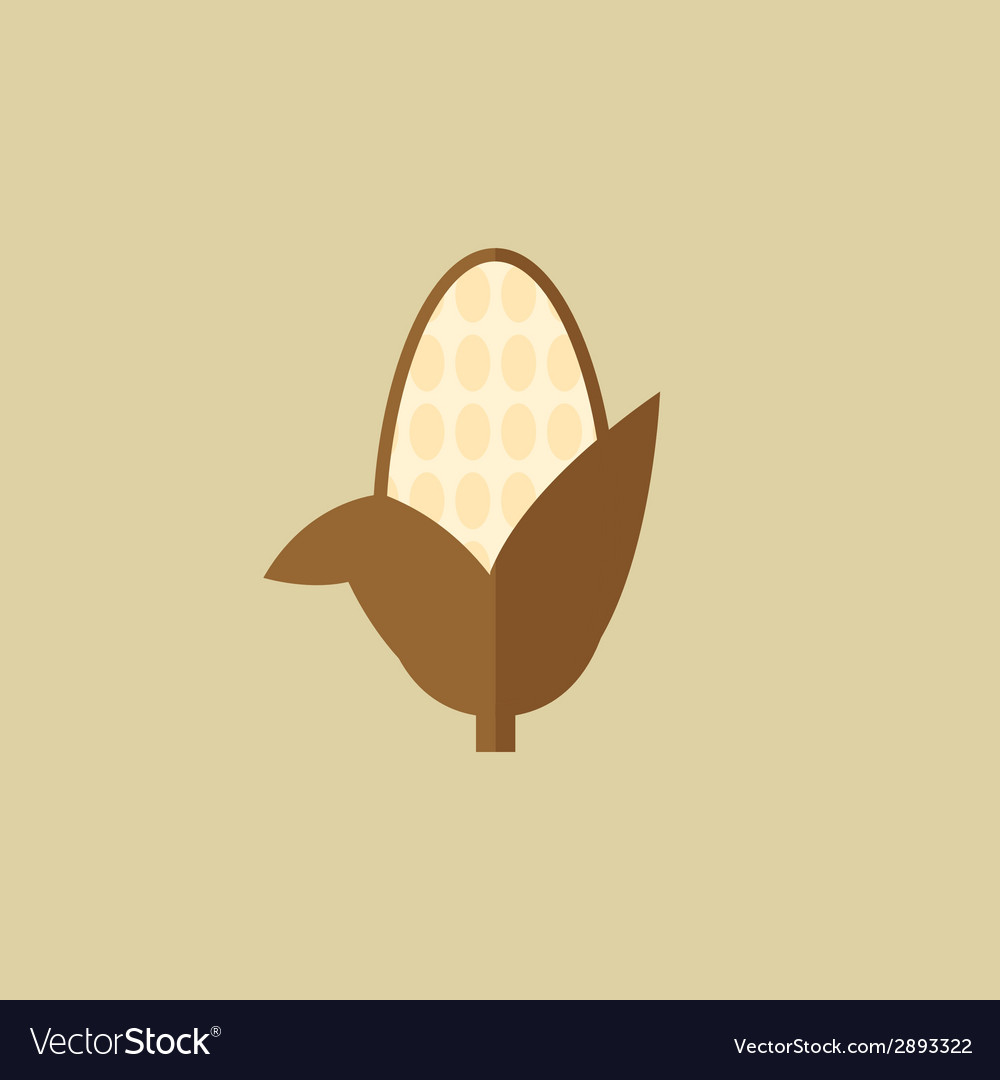 Corn food flat icon vector | Price: 1 Credit (USD $1)