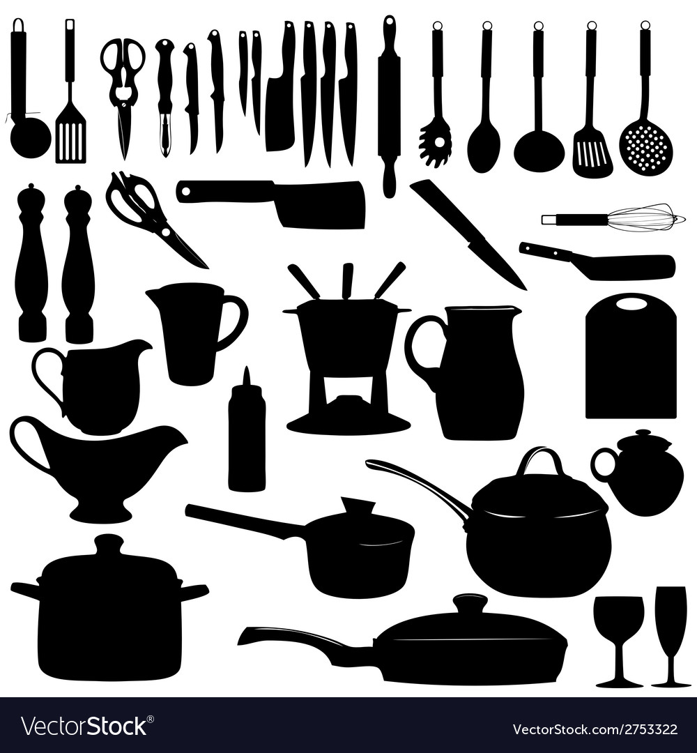 Kitchen tools silhouette vector | Price: 1 Credit (USD $1)