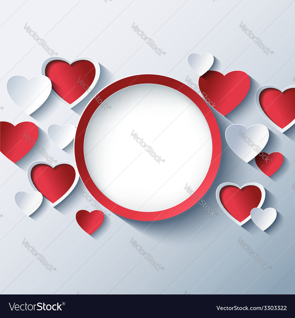 Love background valentines day frame 3d heart vector | Price: 3 Credit (USD $3)