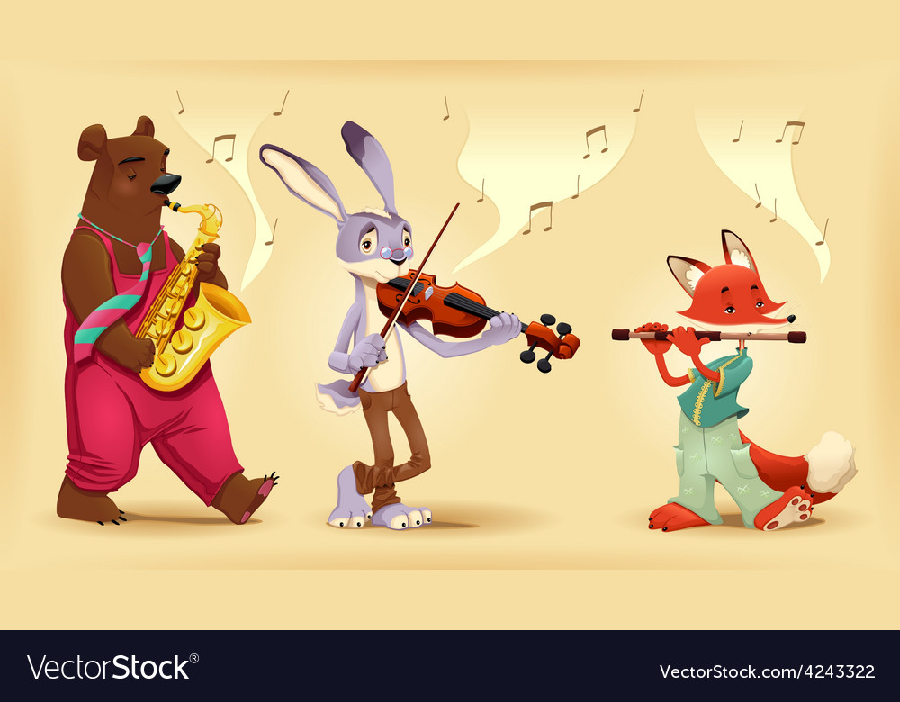 Musician animals vector | Price: 3 Credit (USD $3)