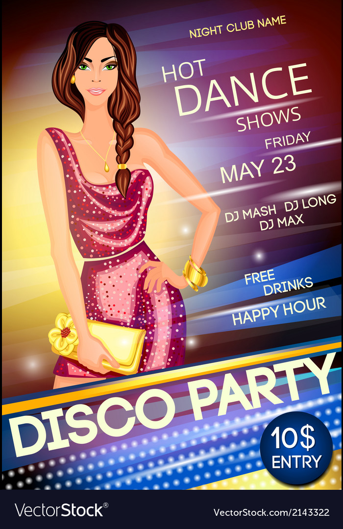 Night club disco party poster vector | Price: 1 Credit (USD $1)