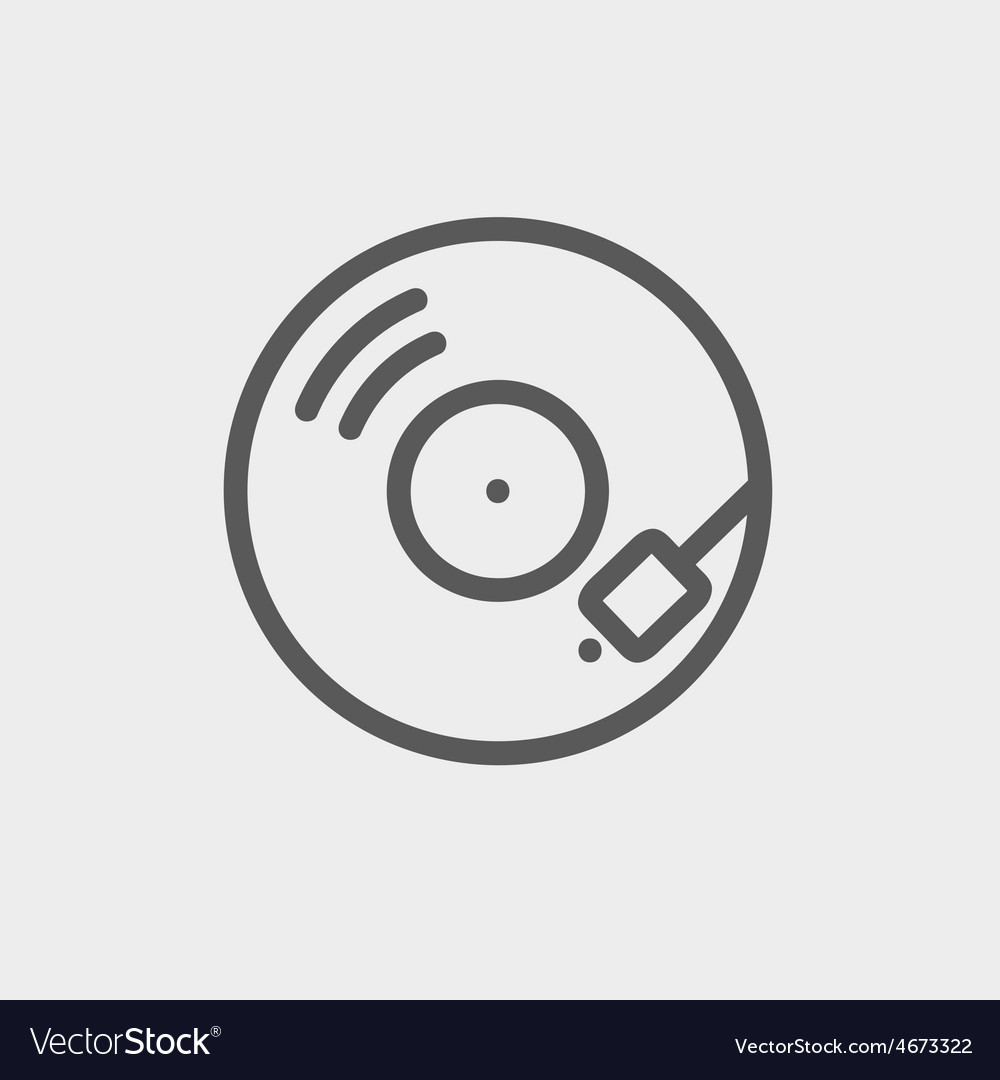 Phonograph turntable thin line icon vector | Price: 1 Credit (USD $1)