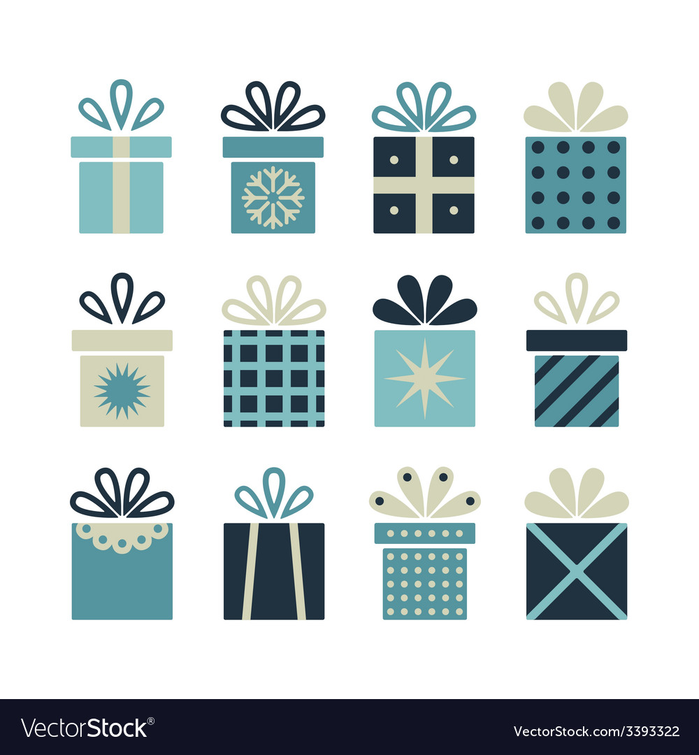 Set of flat gift packages christmas gifts vector | Price: 1 Credit (USD $1)