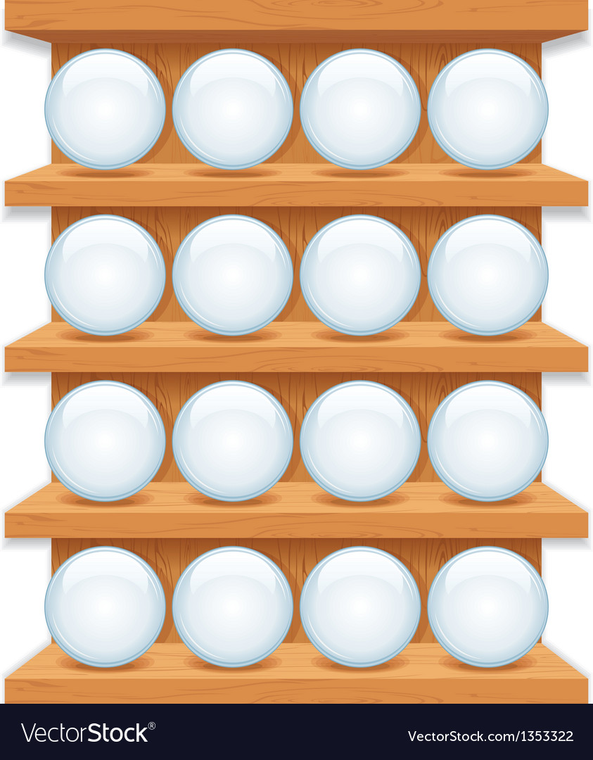 Wooden shelf with round glass buttons art vector | Price: 1 Credit (USD $1)
