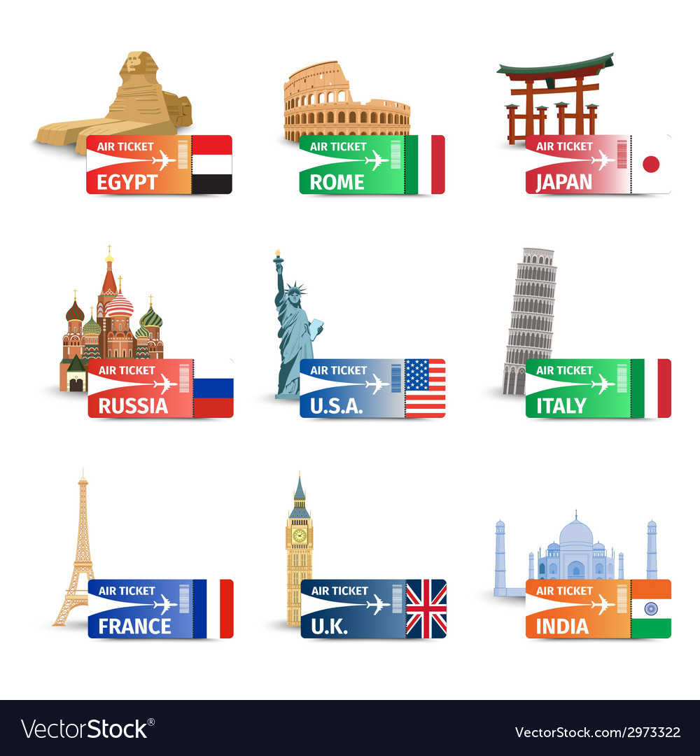 World landmarks ticket set vector | Price: 1 Credit (USD $1)