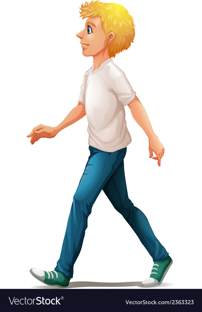 A man in white shirt walking vector | Price: 3 Credit (USD $3)