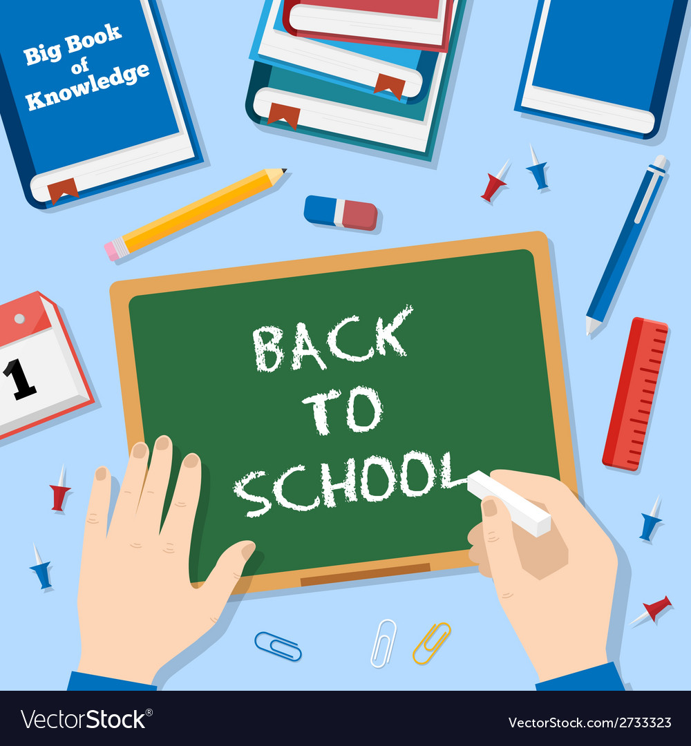 Back to school flat style background with chalk vector | Price: 1 Credit (USD $1)