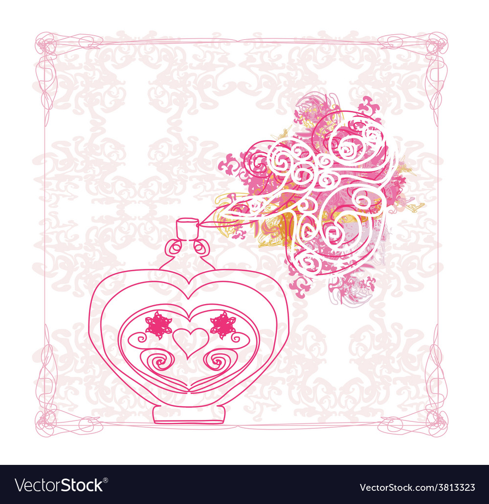 Bottle of perfume with a floral aroma vector | Price: 1 Credit (USD $1)