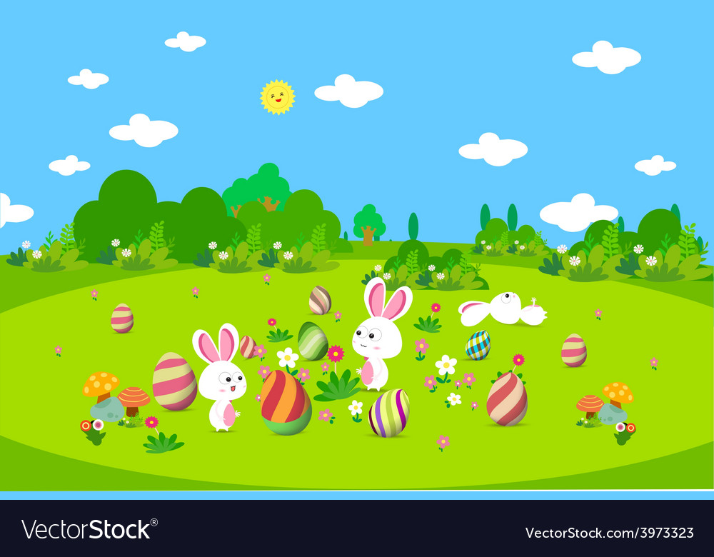 Colorful easter greeting card with eggs and bunny vector | Price: 1 Credit (USD $1)