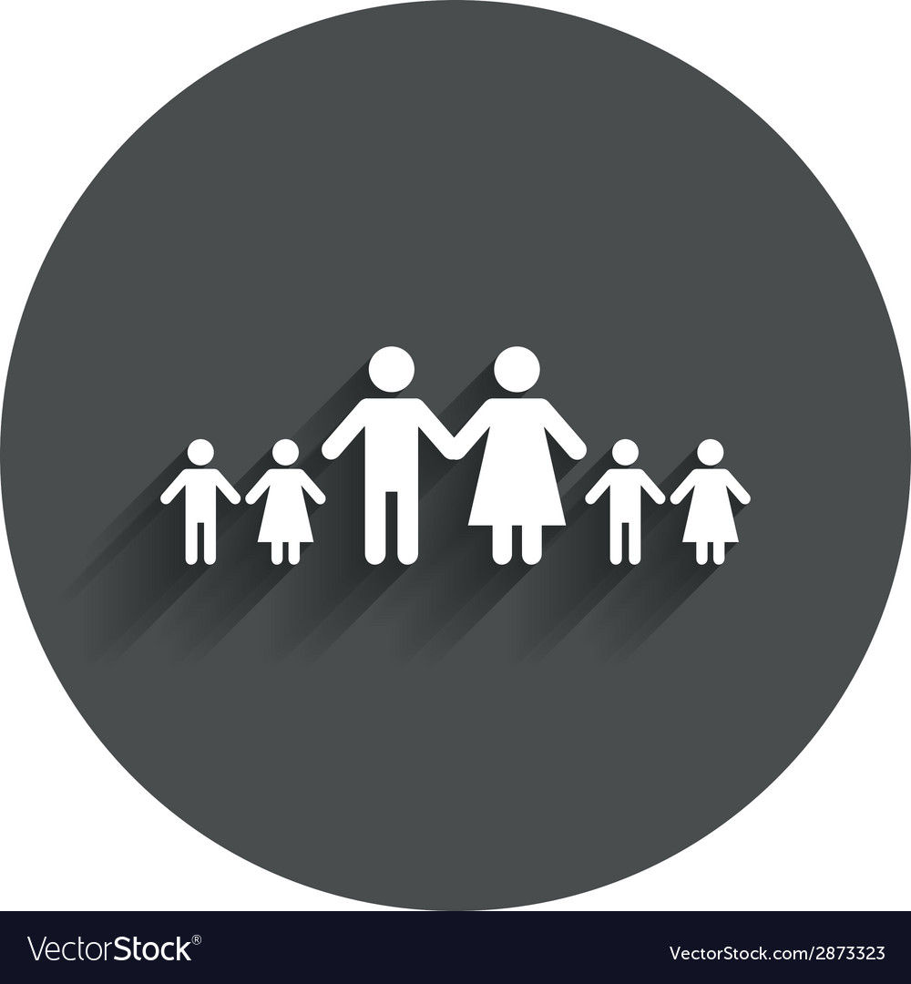 Complete large family with many children sign vector   Price: 1 Credit (USD $1)