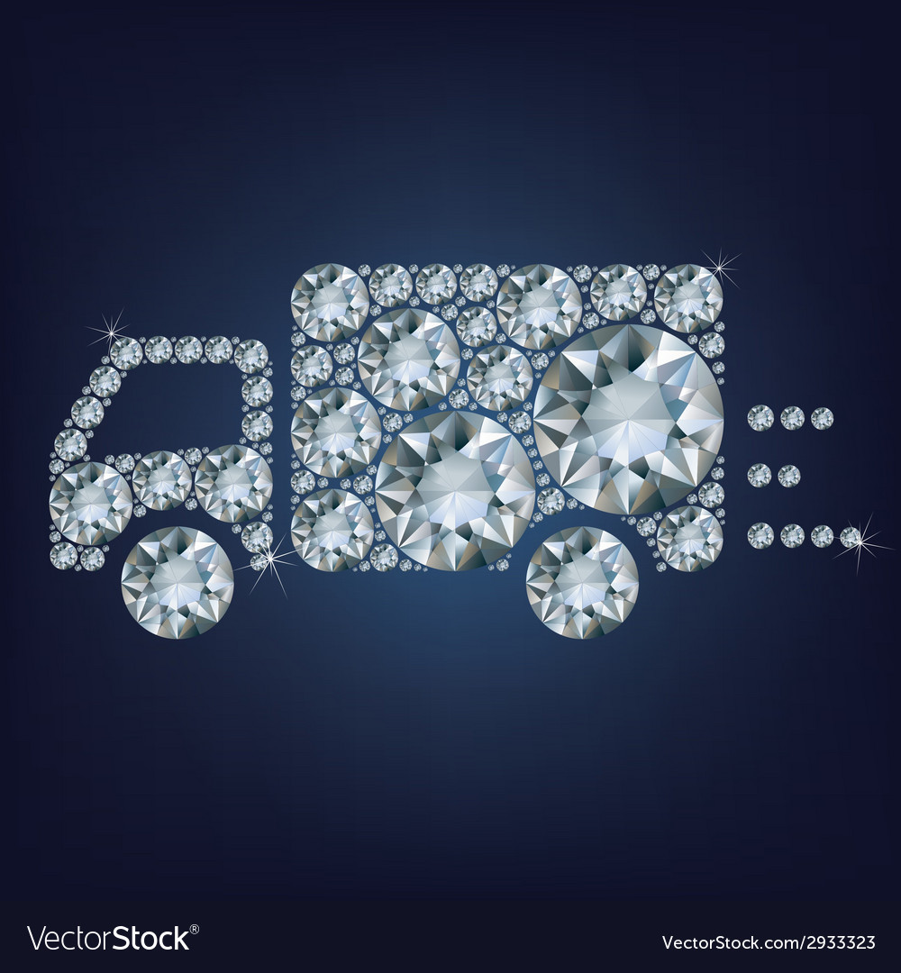 Delivery truck sign icon made a lot of diamonds vector | Price: 1 Credit (USD $1)