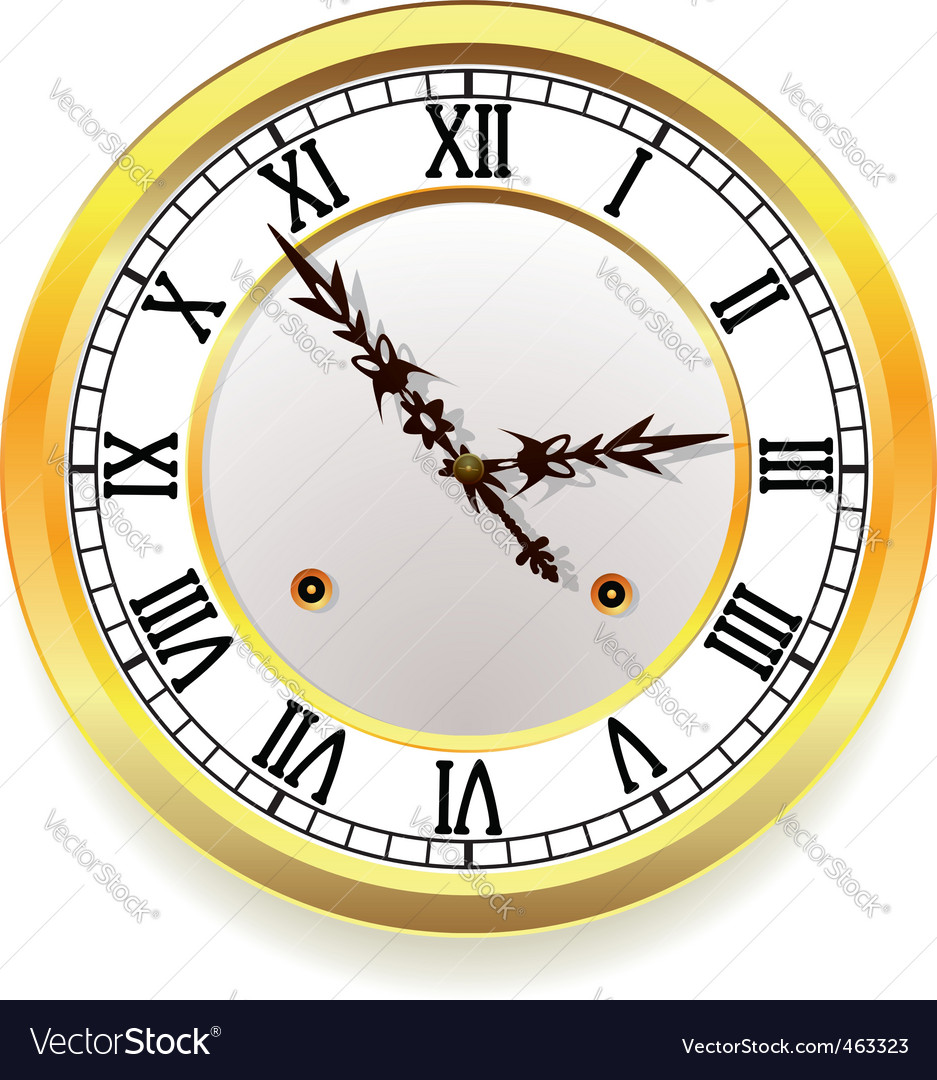 Golden clock vector | Price: 3 Credit (USD $3)