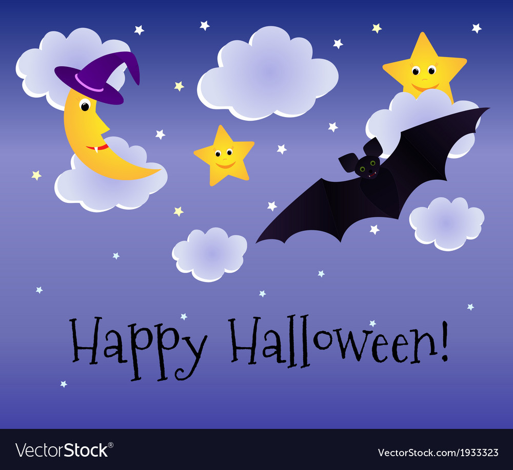 Halloween background with moon and bat vector | Price: 1 Credit (USD $1)