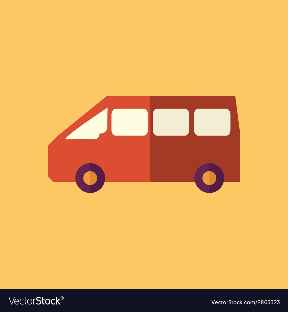 Mini van transportation flat icon vector | Price: 1 Credit (USD $1)