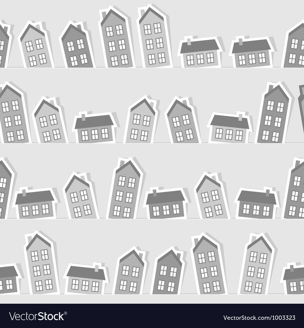 Monochrome paper town seamless pattern vector | Price: 1 Credit (USD $1)
