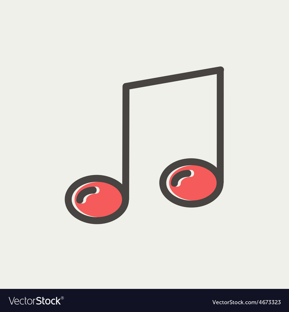 Music note thin line icon vector | Price: 1 Credit (USD $1)