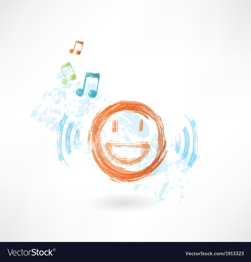 Music smile grunge icon vector | Price: 1 Credit (USD $1)