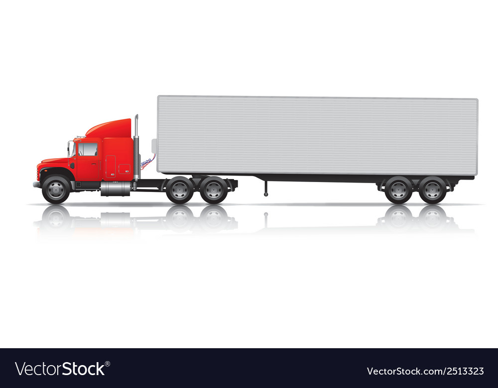 Red semi- truck with trailer vector | Price: 1 Credit (USD $1)