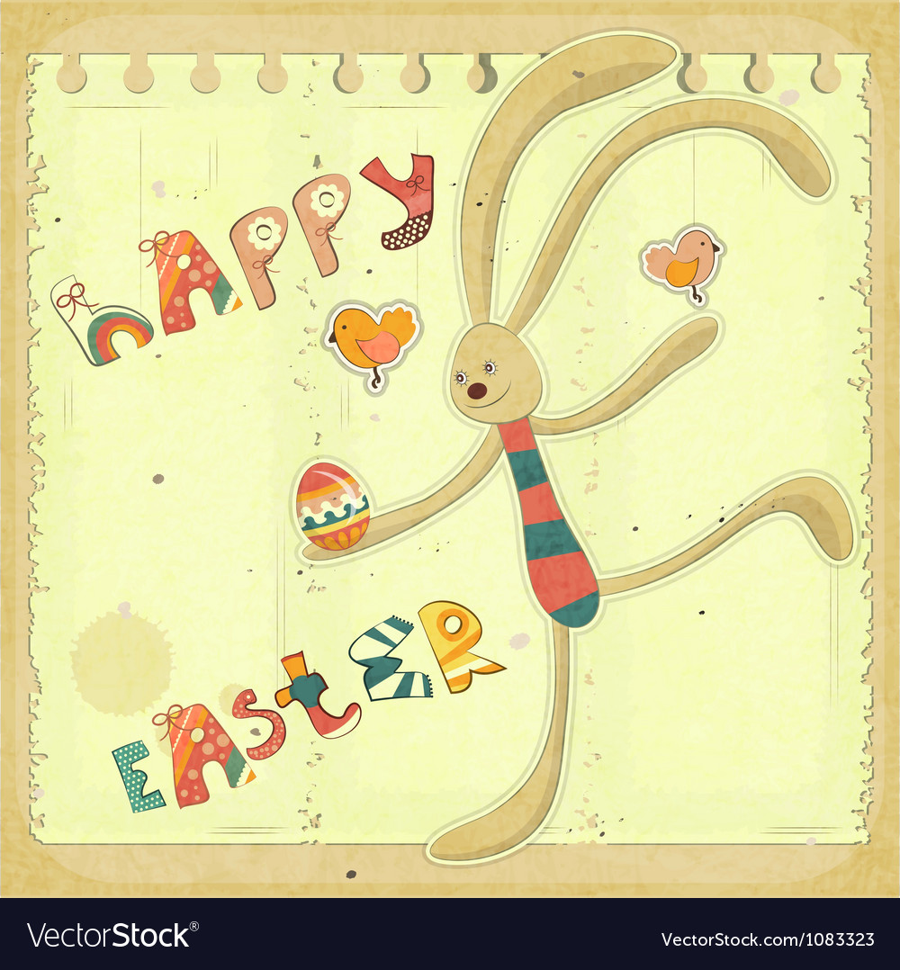 Retro easter card with bunny vector | Price: 1 Credit (USD $1)