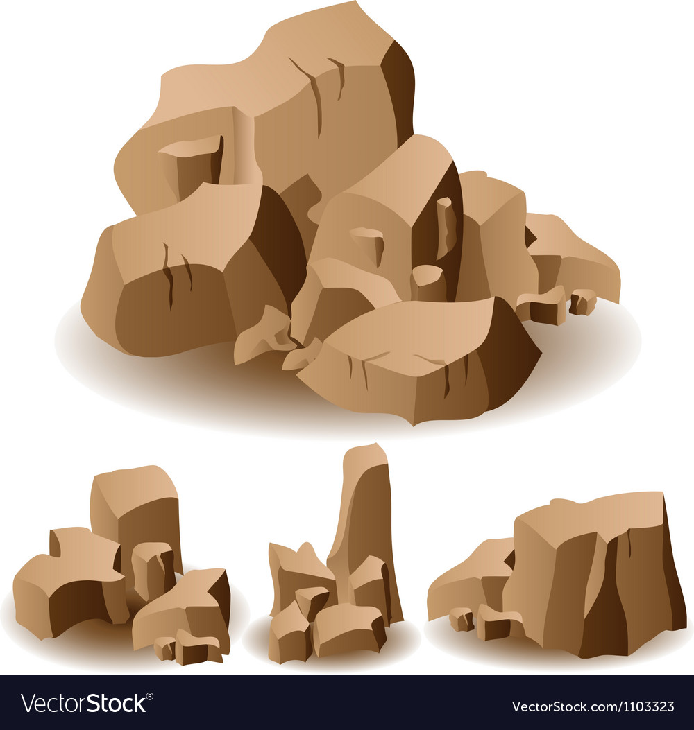 Rock and stone set vector | Price: 1 Credit (USD $1)