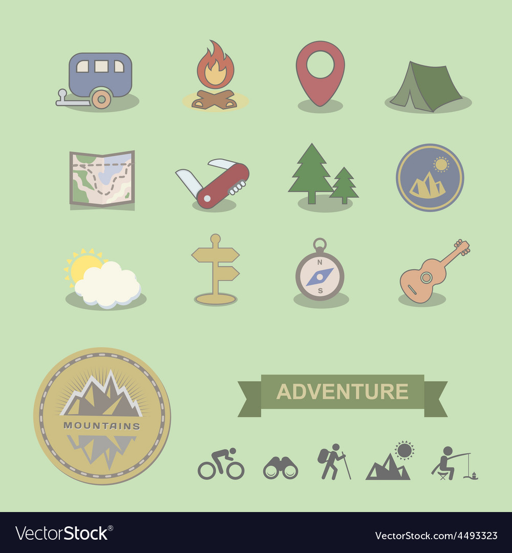 Set of colored camping equipment symbols and icons vector | Price: 1 Credit (USD $1)