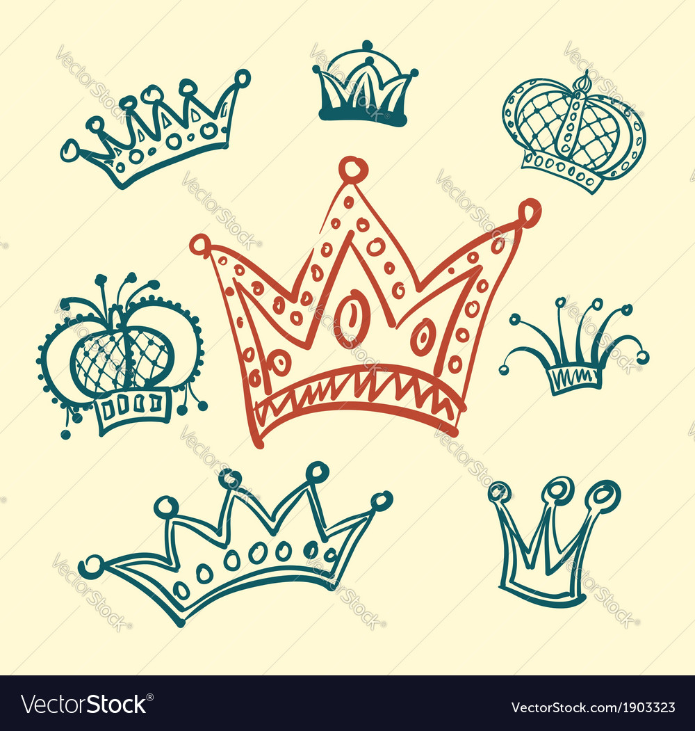 Set of crown sketches vector | Price: 1 Credit (USD $1)