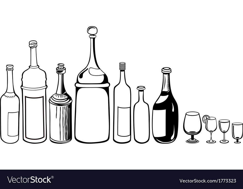 Set of old bottles and wineglass vector | Price: 1 Credit (USD $1)