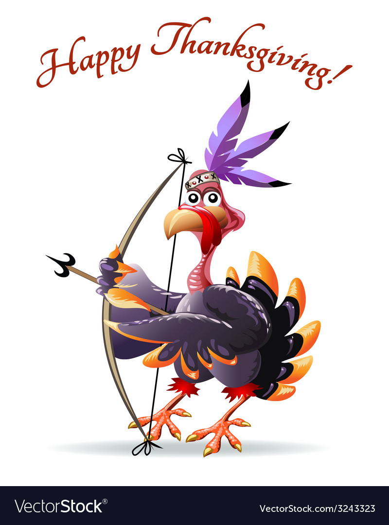 Turkey with bow thankgiving greeting card vector | Price: 3 Credit (USD $3)