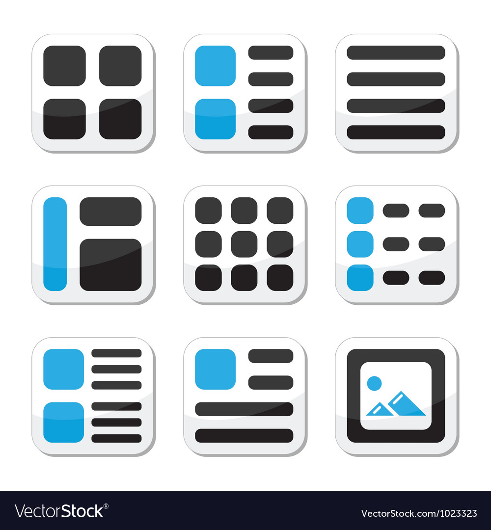 Website display options and photo gallery icons vector | Price: 1 Credit (USD $1)