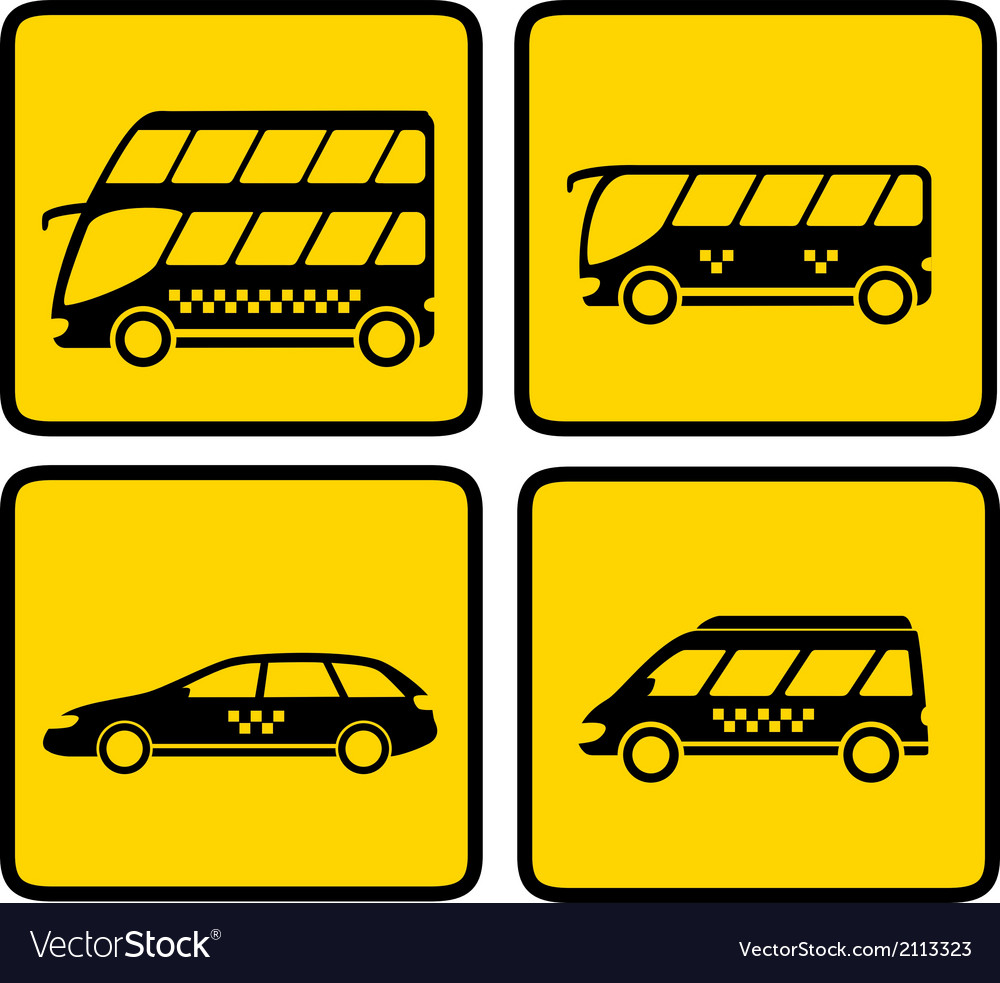 Yellow passenger transport icon vector | Price: 1 Credit (USD $1)