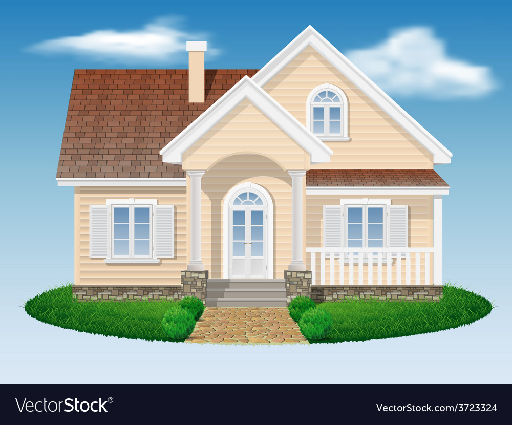 Beautiful small residential house vector | Price: 1 Credit (USD $1)