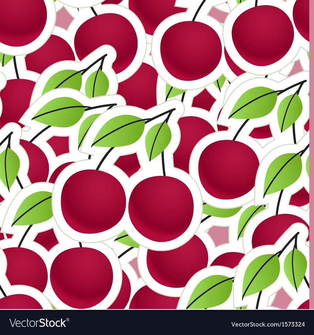 Cherry seamless background vector | Price: 1 Credit (USD $1)