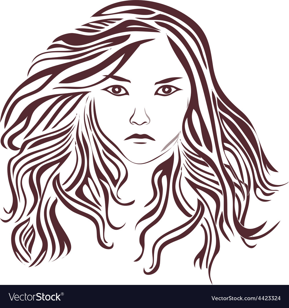 Female-with-very-long-hair vector | Price: 1 Credit (USD $1)