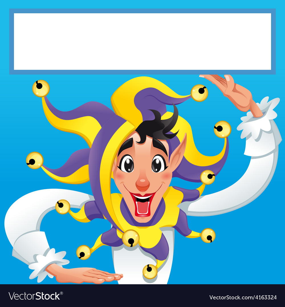 Funny jocker smiling with white frame vector | Price: 3 Credit (USD $3)