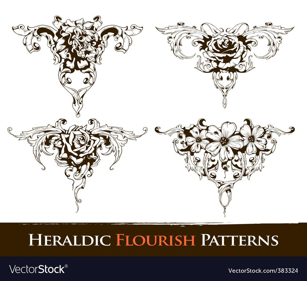 Heraldic flourish patterns vector   Price: 1 Credit (USD $1)
