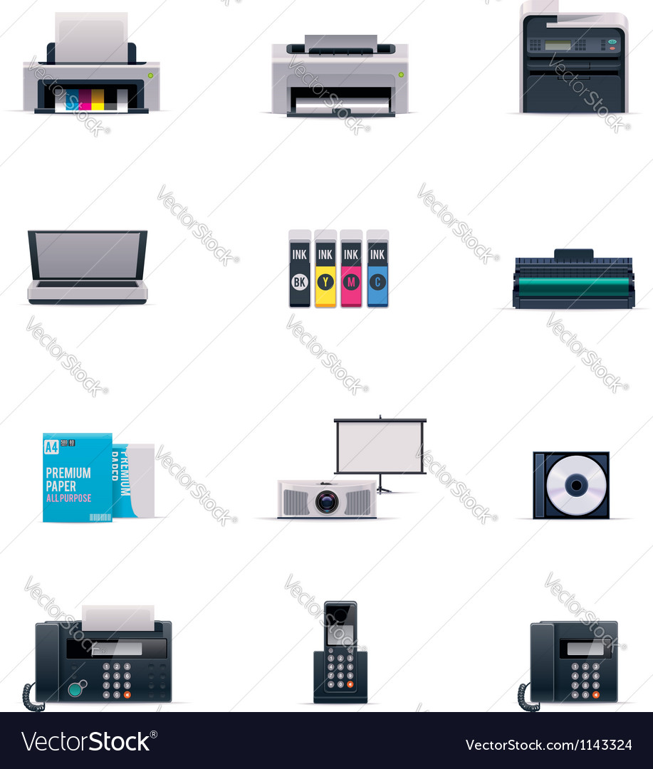 Office electronics icon set vector | Price: 5 Credit (USD $5)