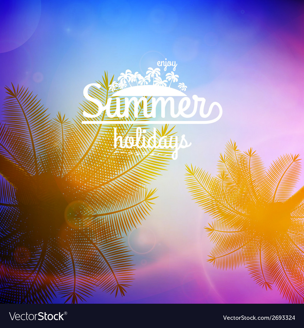 Palm tree sunset typography poster vector | Price: 1 Credit (USD $1)