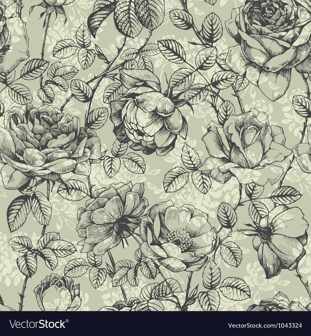 Rose pattern blue vector | Price: 1 Credit (USD $1)