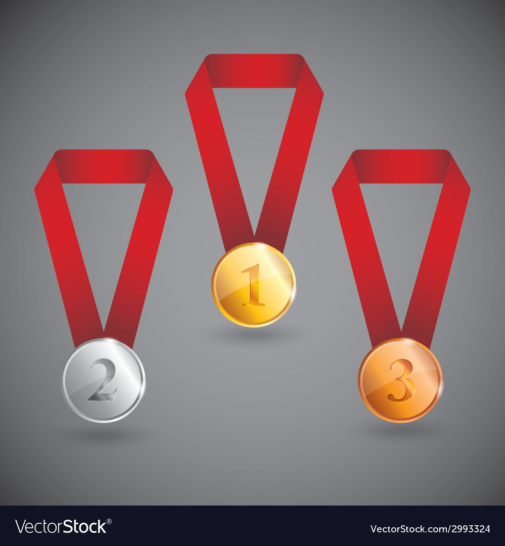 Set of gold silver and bronze medals vector | Price: 1 Credit (USD $1)