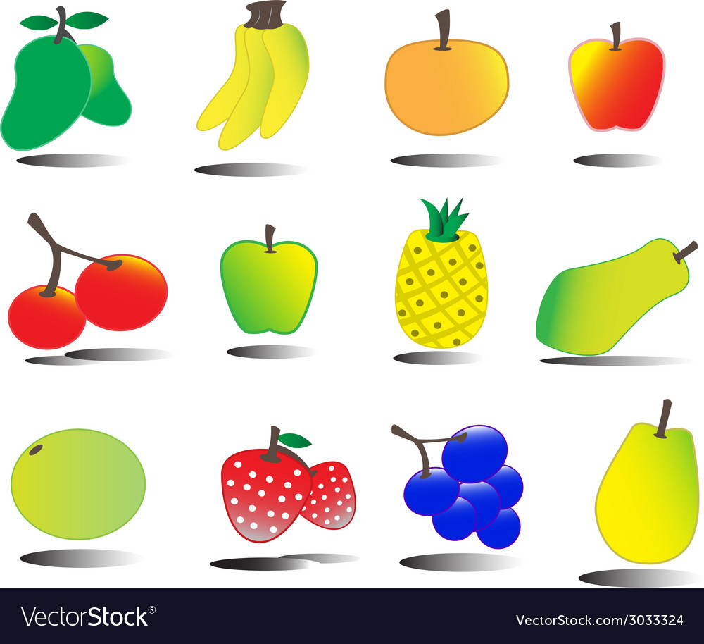 Tasty fruits set tutty frutty vector | Price: 1 Credit (USD $1)