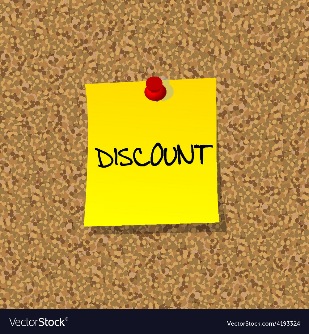 Yellow stick note paper with word discount pinned vector | Price: 1 Credit (USD $1)