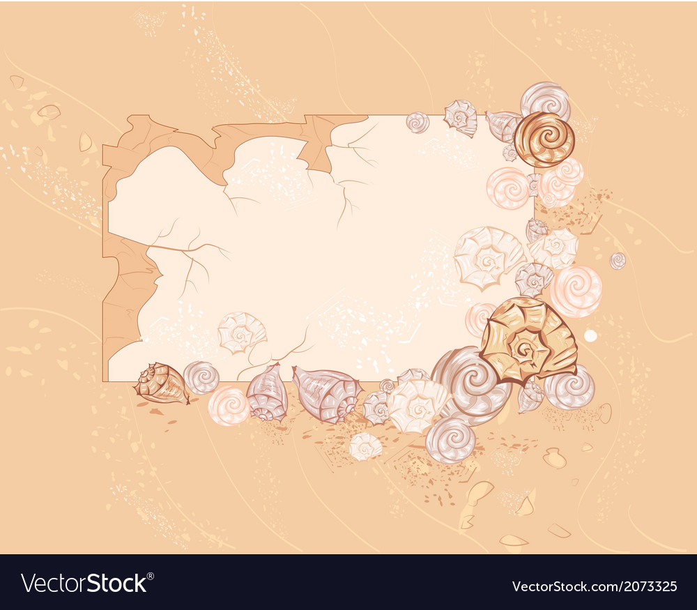Banner with sea seashell vector | Price: 1 Credit (USD $1)