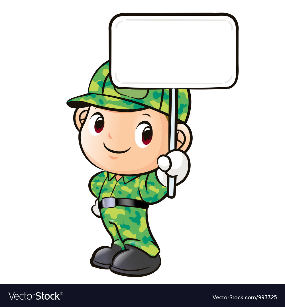 The character of a soldier holding signs vector | Price: 3 Credit (USD $3)