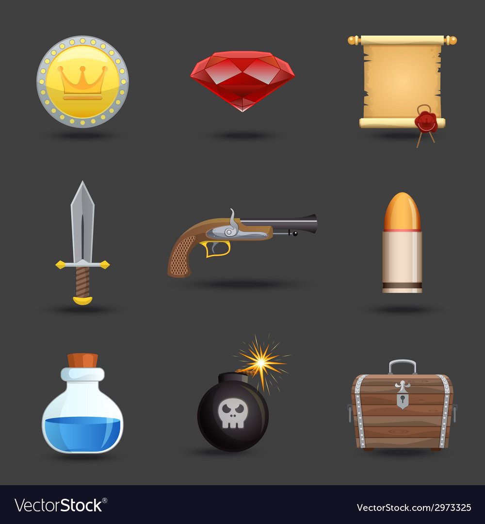 Game resources icons vector | Price: 1 Credit (USD $1)