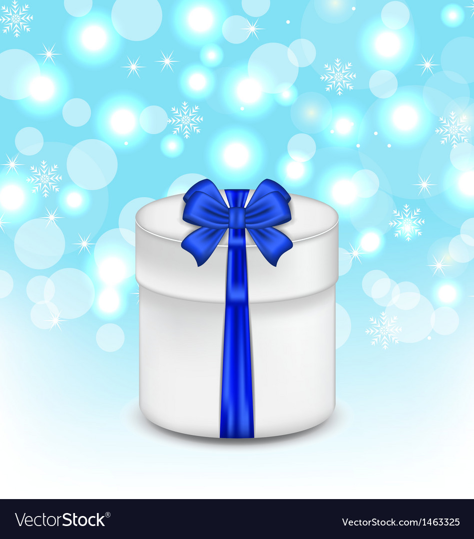 Gift box with blue bow on glowing background vector | Price: 1 Credit (USD $1)