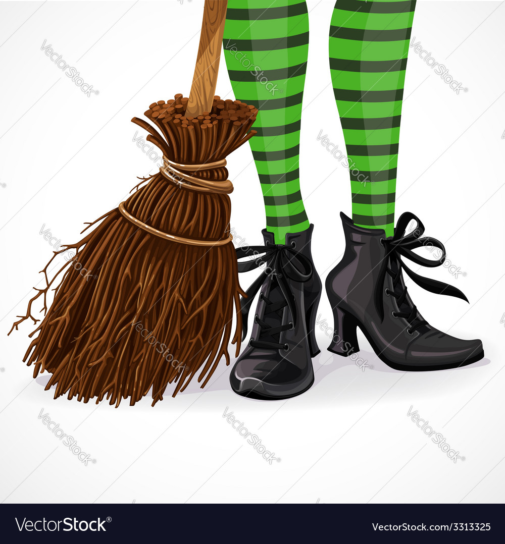 Halloween witch legs in boots and with broomstick vector | Price: 3 Credit (USD $3)