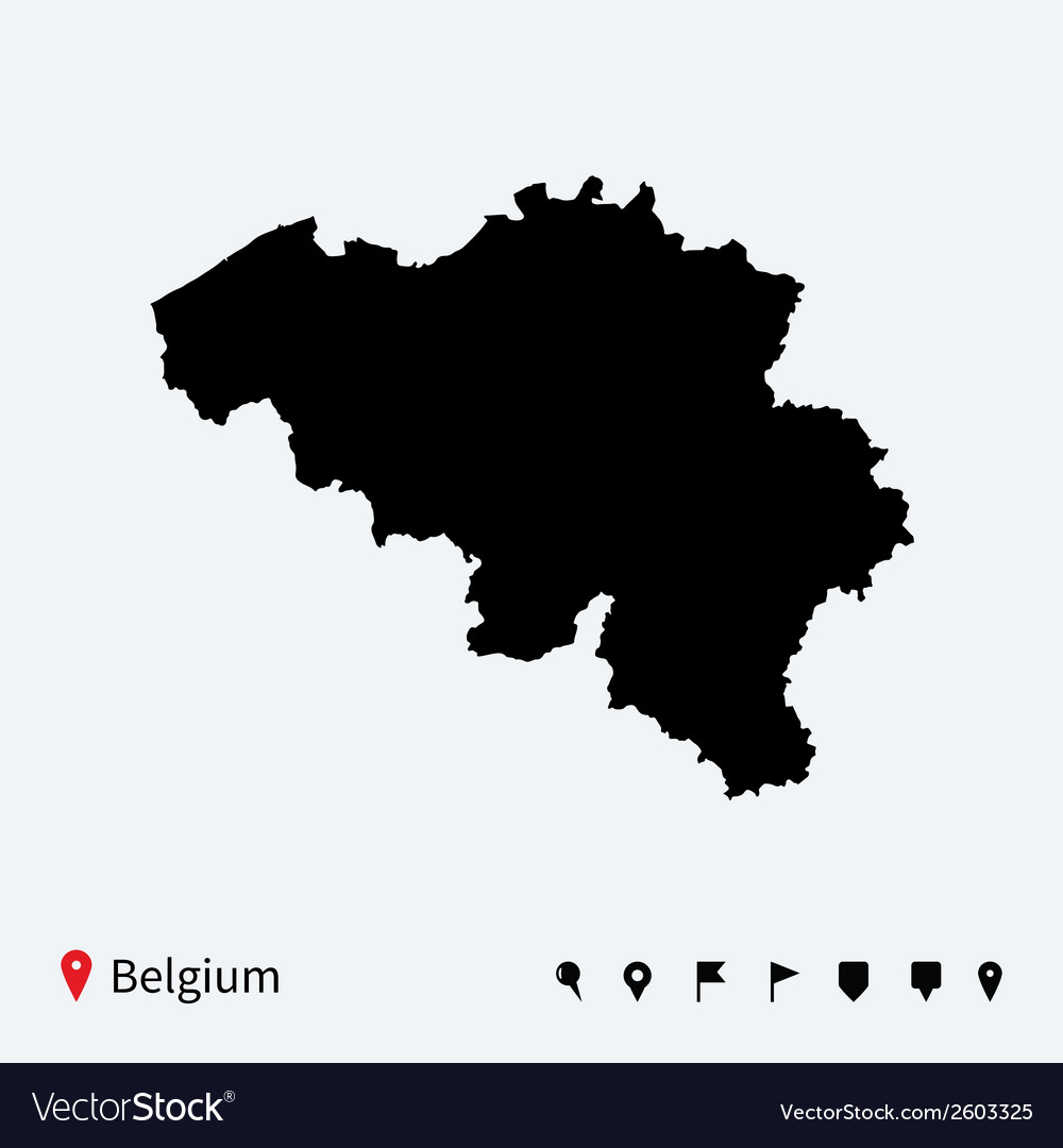 High detailed map of belgium with navigation pins vector | Price: 1 Credit (USD $1)